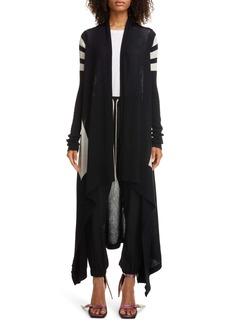 Rick Owens Stripe Long Wool Cardigan
