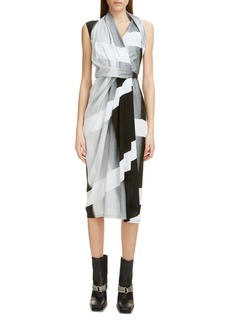 Rick Owens Stripe Wrap Midi Dress
