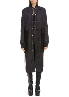 Rick Owens Suede Pocket Quilted Longline Jacket