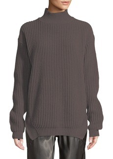 Rick Owens Turtleneck Long-Sleeve Fisherman Pullover Wool Sweater
