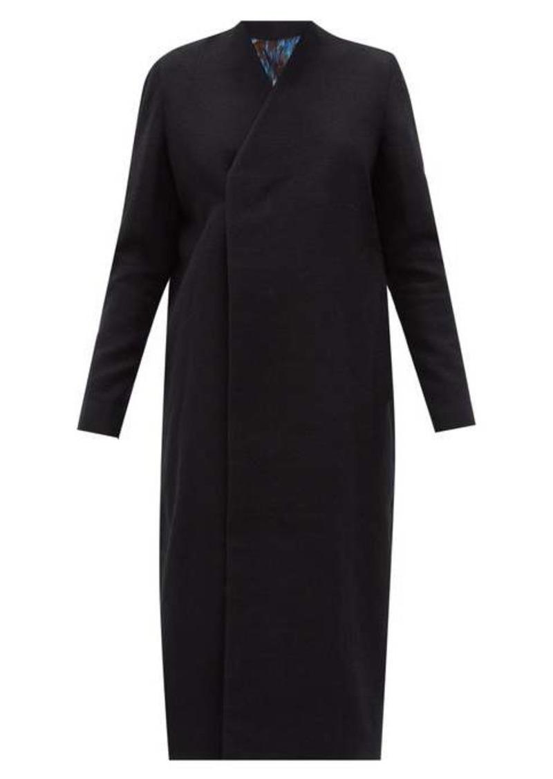 Rick Owens V-neck felted cotton-blend overcoat