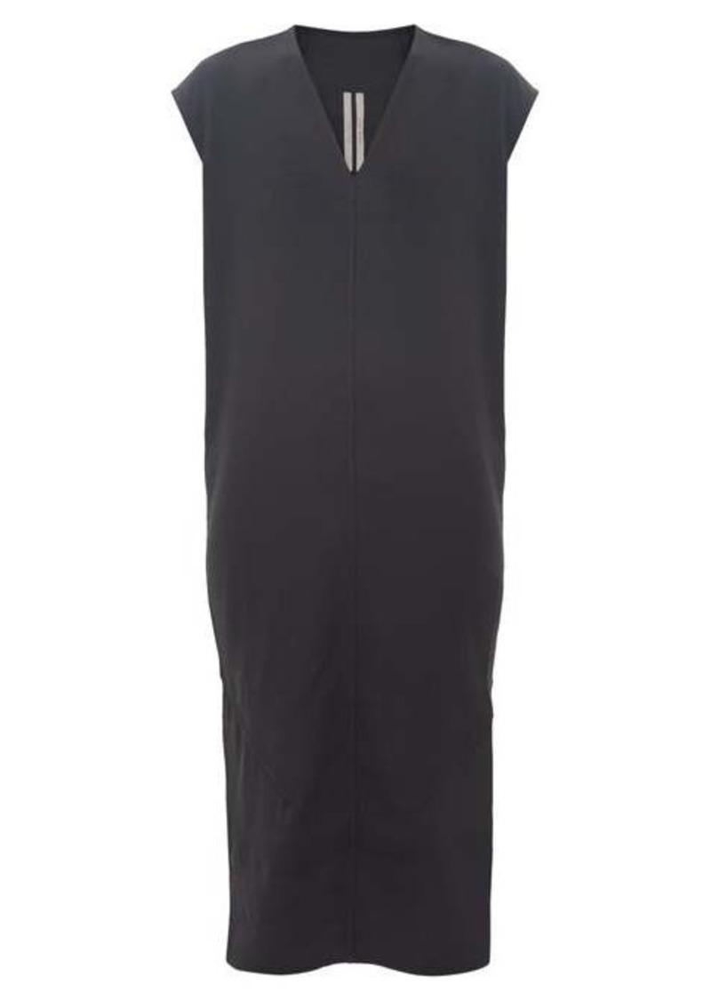 Rick Owens V-neck side-slit crepe dress