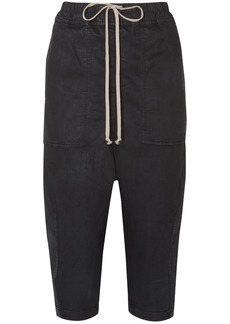 Rick Owens Waxed cotton-blend jersey track pants