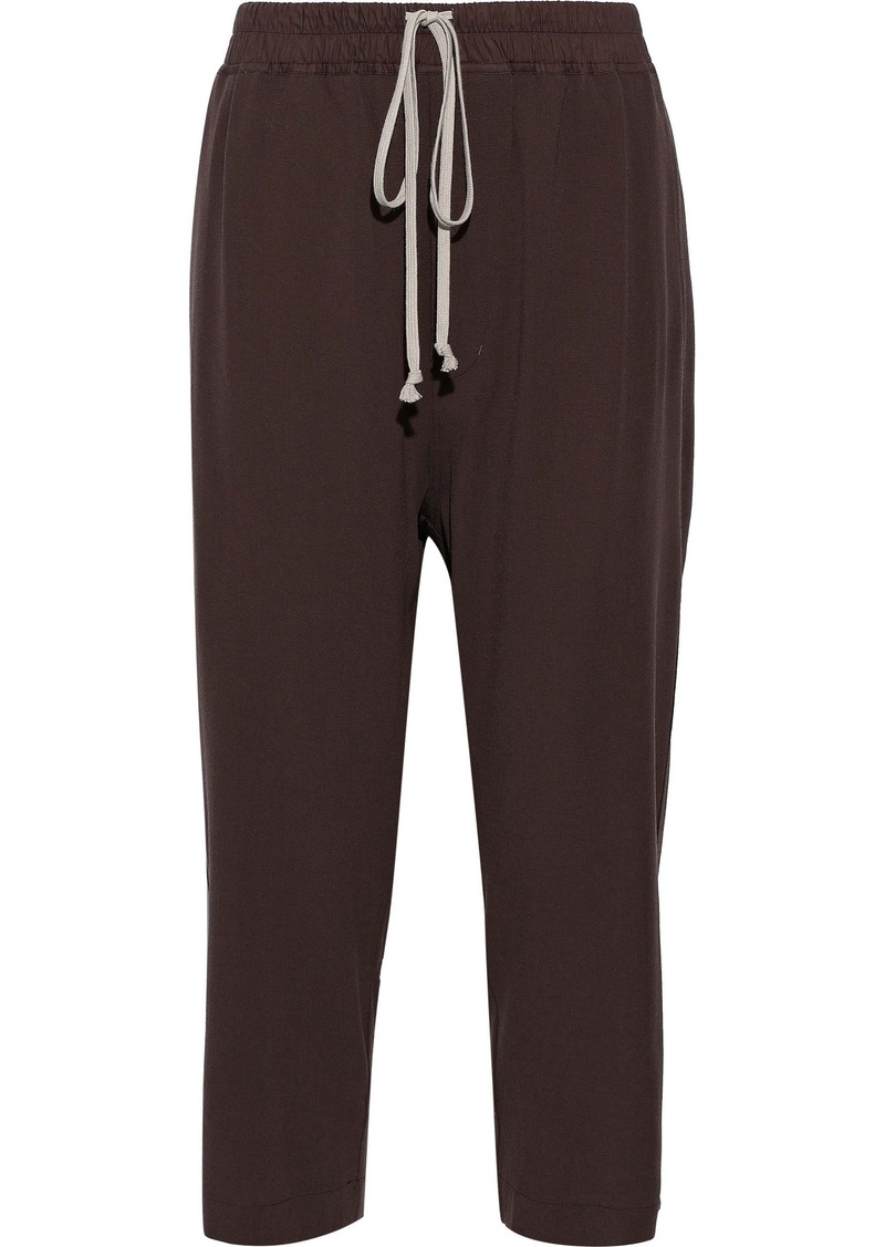 Rick Owens Woman Astaire Cropped Wool-crepe Straight-leg Pants Merlot