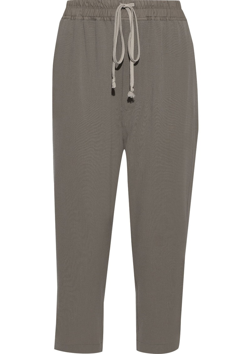 Rick Owens Woman Astaire Cropped Wool-crepe Straight-leg Pants Gray