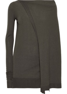 Rick Owens Woman Asymmetric Cape-back Cashmere-blend Tunic Gray