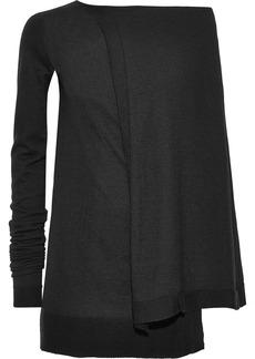 Rick Owens Woman Asymmetric Cape-back Cashmere-blend Tunic Black
