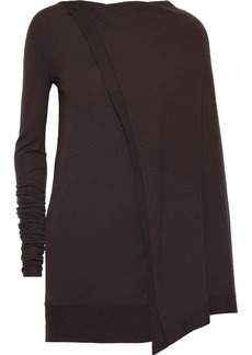Rick Owens Woman Asymmetric Cape-back Cashmere-blend Tunic Brown