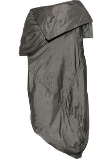 Rick Owens Woman Asymmetric Crinkled-shell Jacket Dark Green