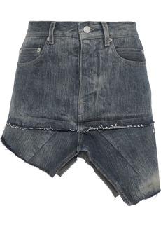 Rick Owens Woman Asymmetric Distressed Denim Mini Skirt Dark Denim