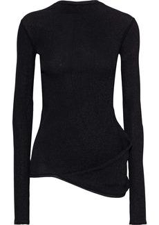Rick Owens Woman Asymmetric Marled Ribbed-knit Top Black