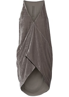 Rick Owens Woman Asymmetric Velvet Top Gray