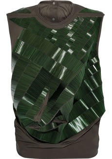Rick Owens Woman Bead-embellished Draped Cotton Top Sage Green
