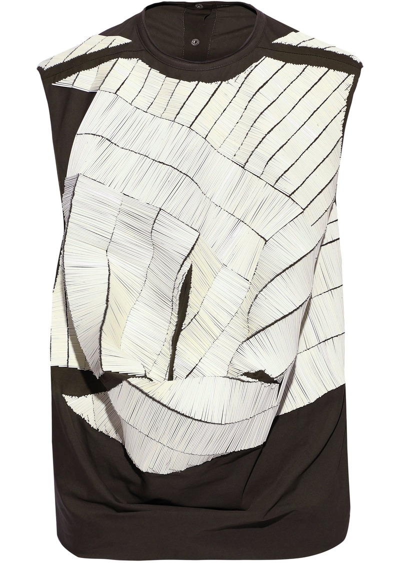 Rick Owens Woman Bead-embellished Draped Cotton Top White