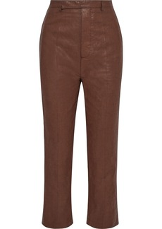 Rick Owens Woman Bolans Cropped Coated Linen-blend Straight-leg Pants Brown