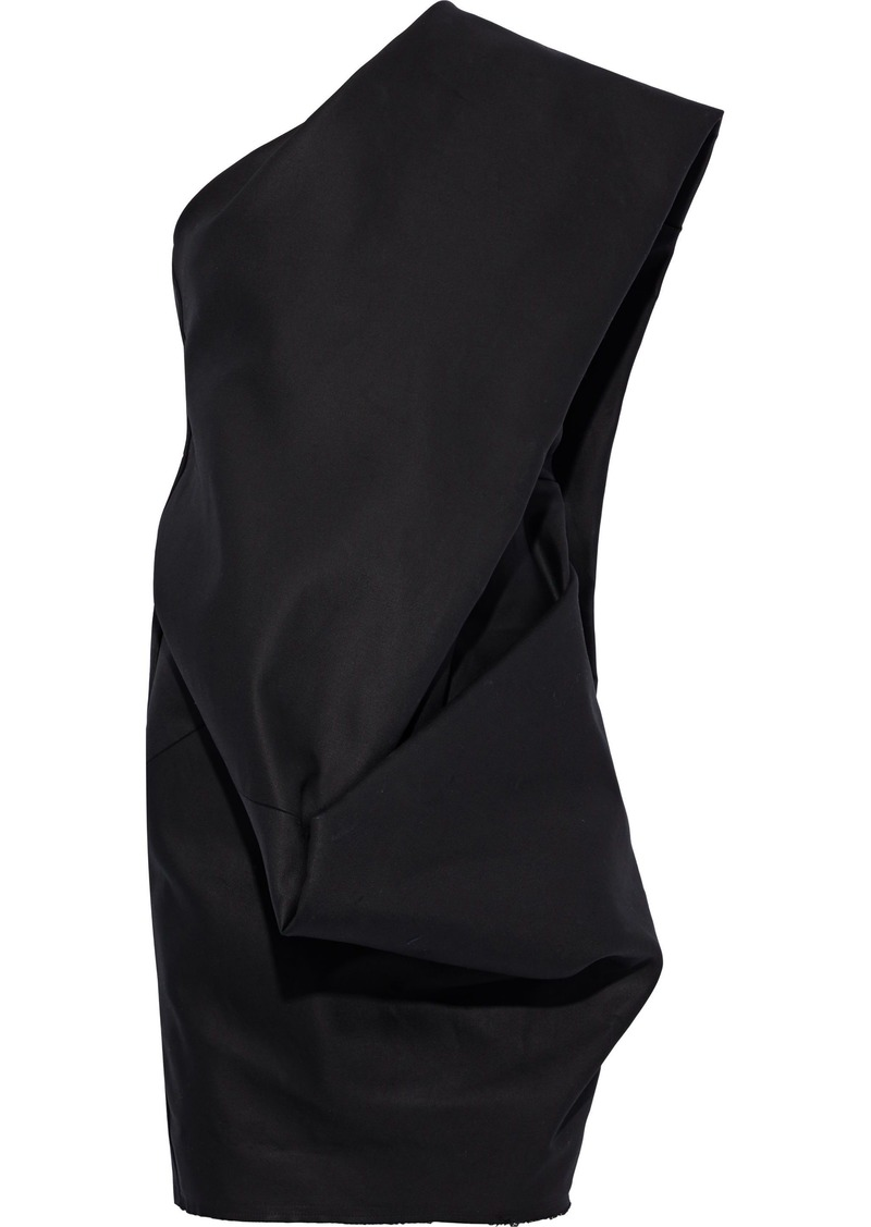 Rick Owens Woman Bouquet One-shoulder Draped Cotton-twill Mini Dress Black