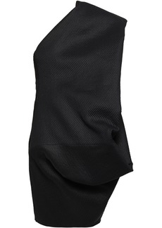 Rick Owens Woman Bouquet One-shoulder Paper-blend Jacquard Mini Dress Black