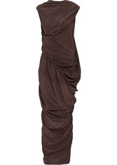 Rick Owens Woman Branch Draped Silk Crepe De Chine Maxi Dress Ivory