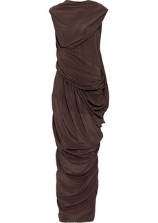 Rick Owens Woman Branch Draped Silk Crepe De Chine Maxi Dress Chocolate