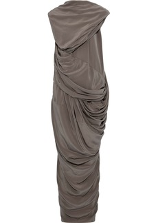 Rick Owens Woman Branch Draped Silk Crepe De Chine Maxi Dress Gray