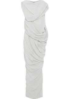 Rick Owens Woman Branch Draped Silk Crepe De Chine Maxi Dress Stone