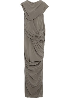 Rick Owens Woman Branch Draped Silk Crepe De Chine Maxi Dress Dark Gray