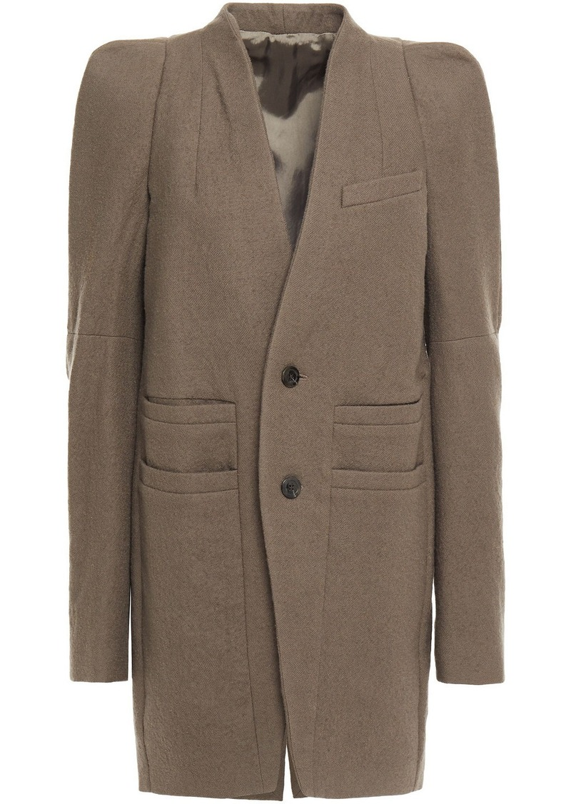 Rick Owens Woman Brushed Wool-twill Coat Taupe