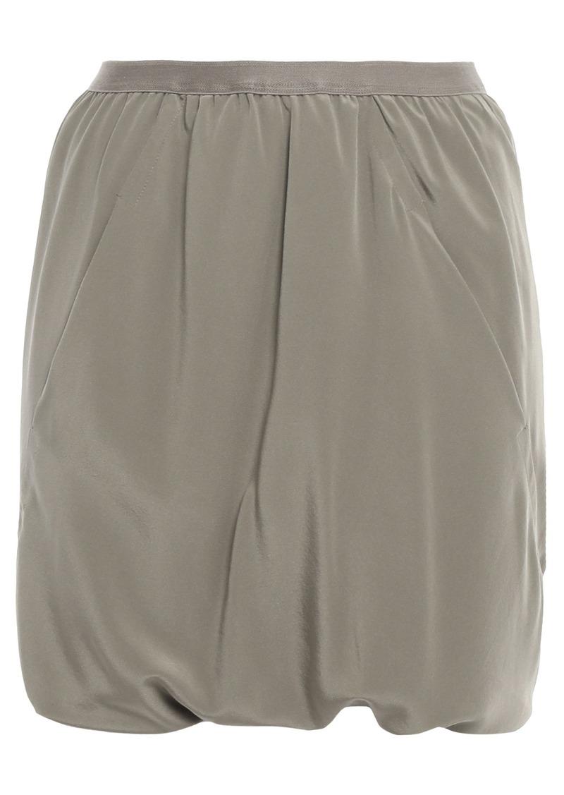 Rick Owens Woman Bud Skirt-effect Draped Washed-silk Shorts Grey Green