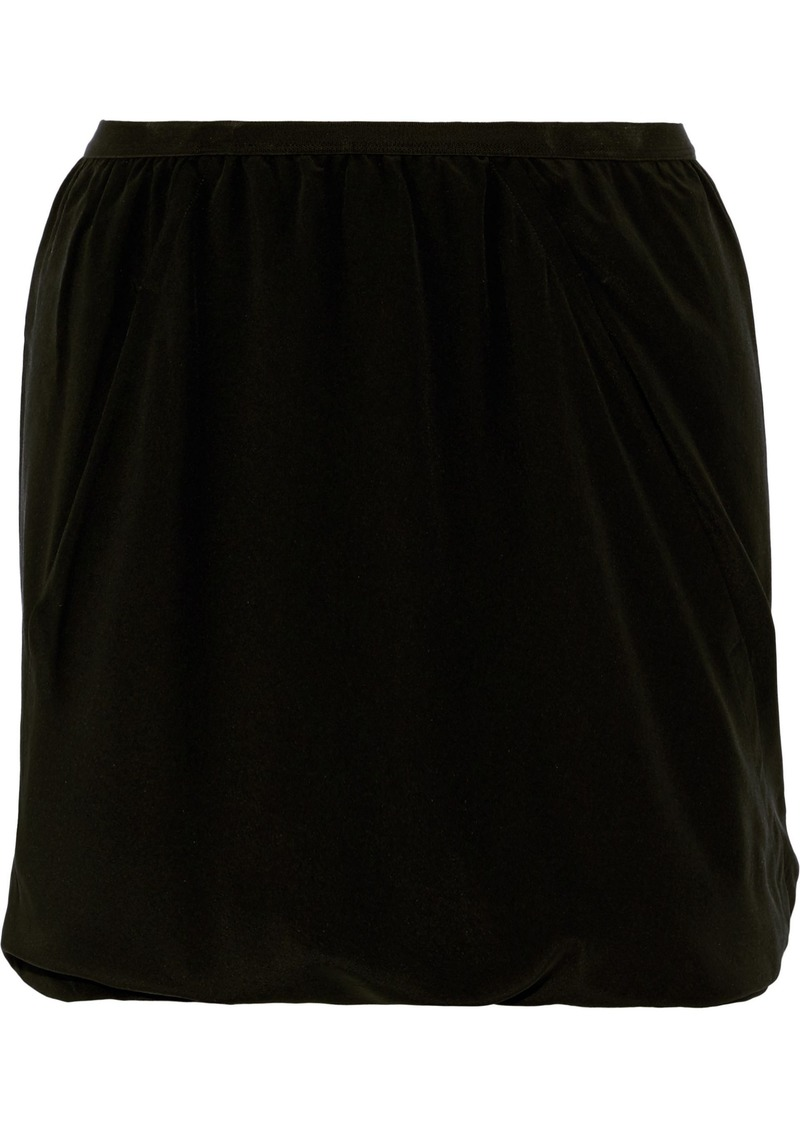Rick Owens Woman Bud Skirt-effect Draped Washed-silk Shorts Black