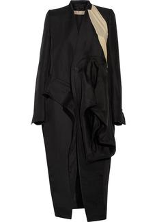 Rick Owens Woman Candy Crepe De Chine-paneled Gathered Silk-gabardine Coat Black