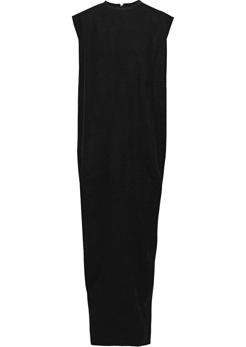 Rick Owens Woman Canvas-trimmed Camel Hair And Linen-blend Maxi Dress Black