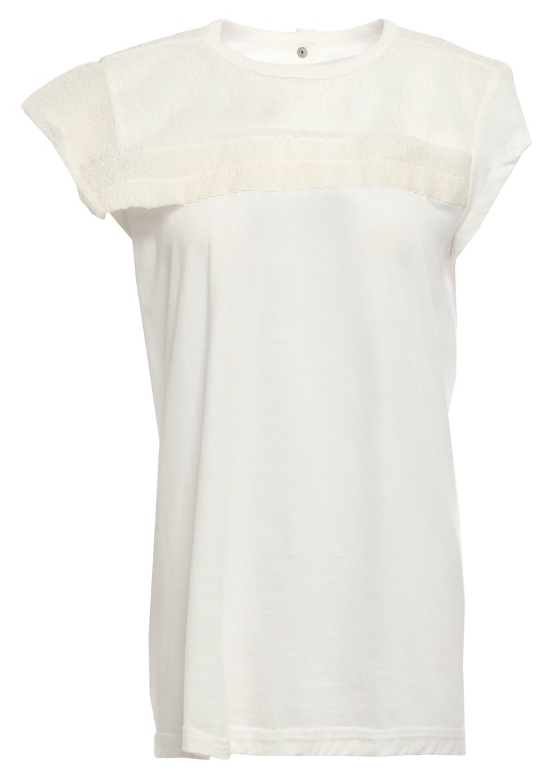 Rick Owens Woman Cloqué Organza-paneled Cotton-jersey Top White