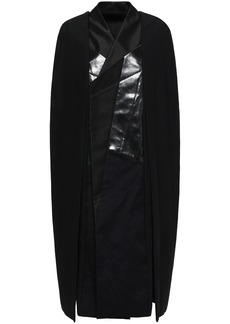 Rick Owens Woman Coated Cotton Twill-paneled Crepe Cape Black