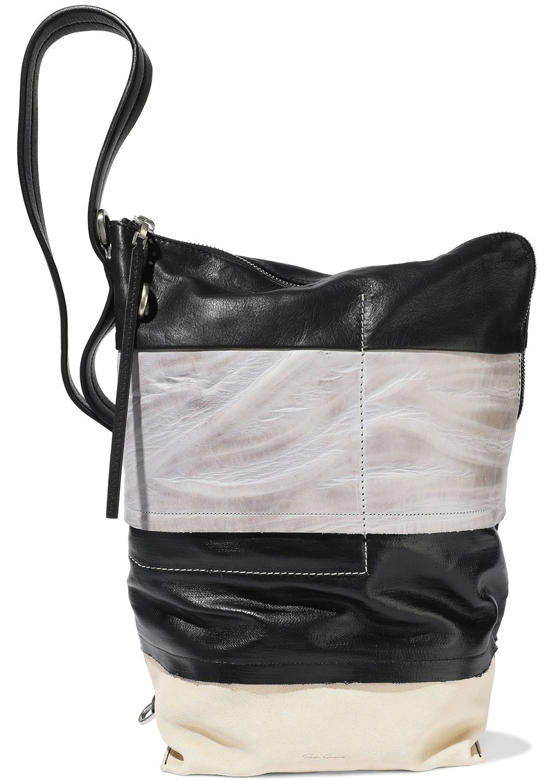 Rick Owens Woman Coated-denim And Textured-leather Bucket Bag Black