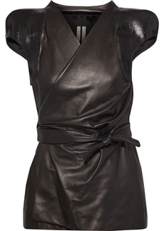 Rick Owens Woman Coated Textured-leather Wrap Top Chocolate