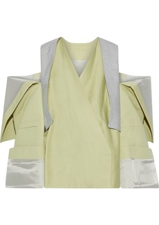 Rick Owens Woman Cold-shoulder Coated Cotton-twill Jacket Lime Green