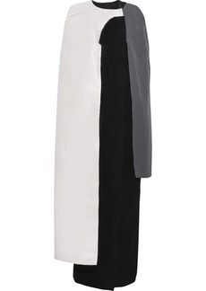 Rick Owens Woman Color-block Layered Duchesse Satin-paneled Wool Cape Multicolor