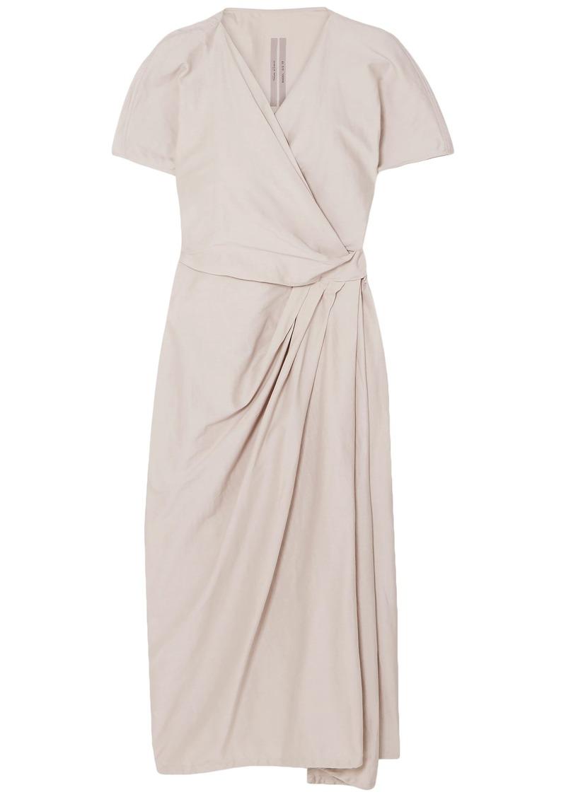 Rick Owens Woman Cotton And Silk-blend Midi Wrap Dress Neutral
