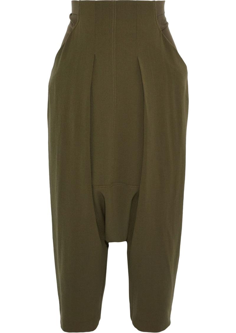 Rick Owens Woman Creatch Cropped Jersey-paneled Wool Harem Pants Army Green
