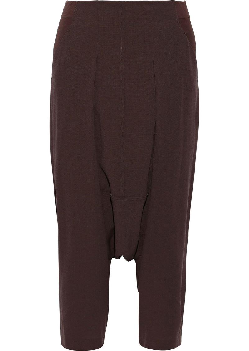 Rick Owens Woman Creatch Cropped Jersey-paneled Wool Harem Pants Merlot