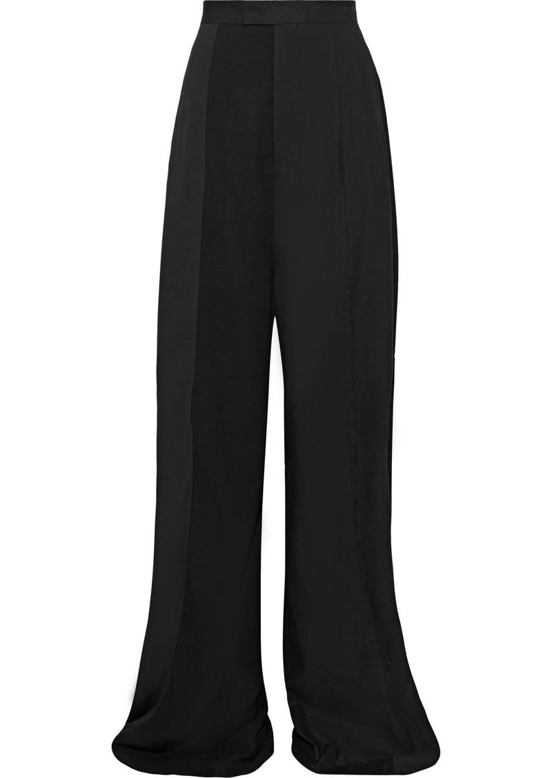 Rick Owens Woman Crepe-paneled Wool-blend Wide-leg Pants Black