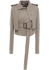 Rick Owens Woman Cropped Belted Wool-blend Felt Jacket Taupe