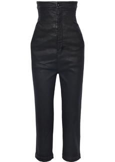 Rick Owens Woman Cropped Coated High-rise Straight-leg Jeans Black