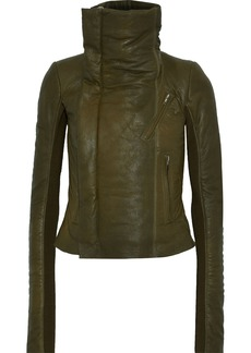 Rick Owens Woman Cropped Coated-leather Biker Jacket Army Green