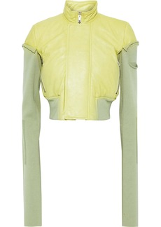 Rick Owens Woman Cropped Rib-paneled Leather Jacket Light Green