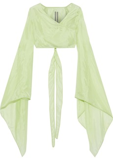Rick Owens Woman Cropped Shell Wrap Jacket Lime Green