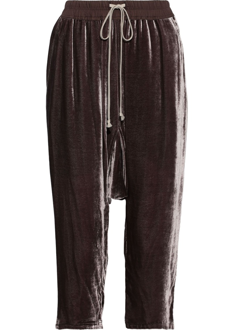 Rick Owens Woman Cropped Velvet Harem Pants Grape