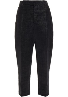 Rick Owens Woman Cropped Velvet Tapered Pants Black