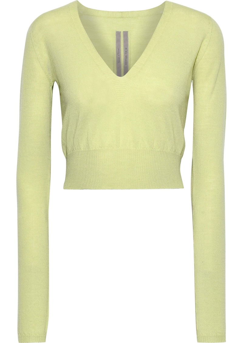 Rick Owens Woman Cropped Wool Top Light Green