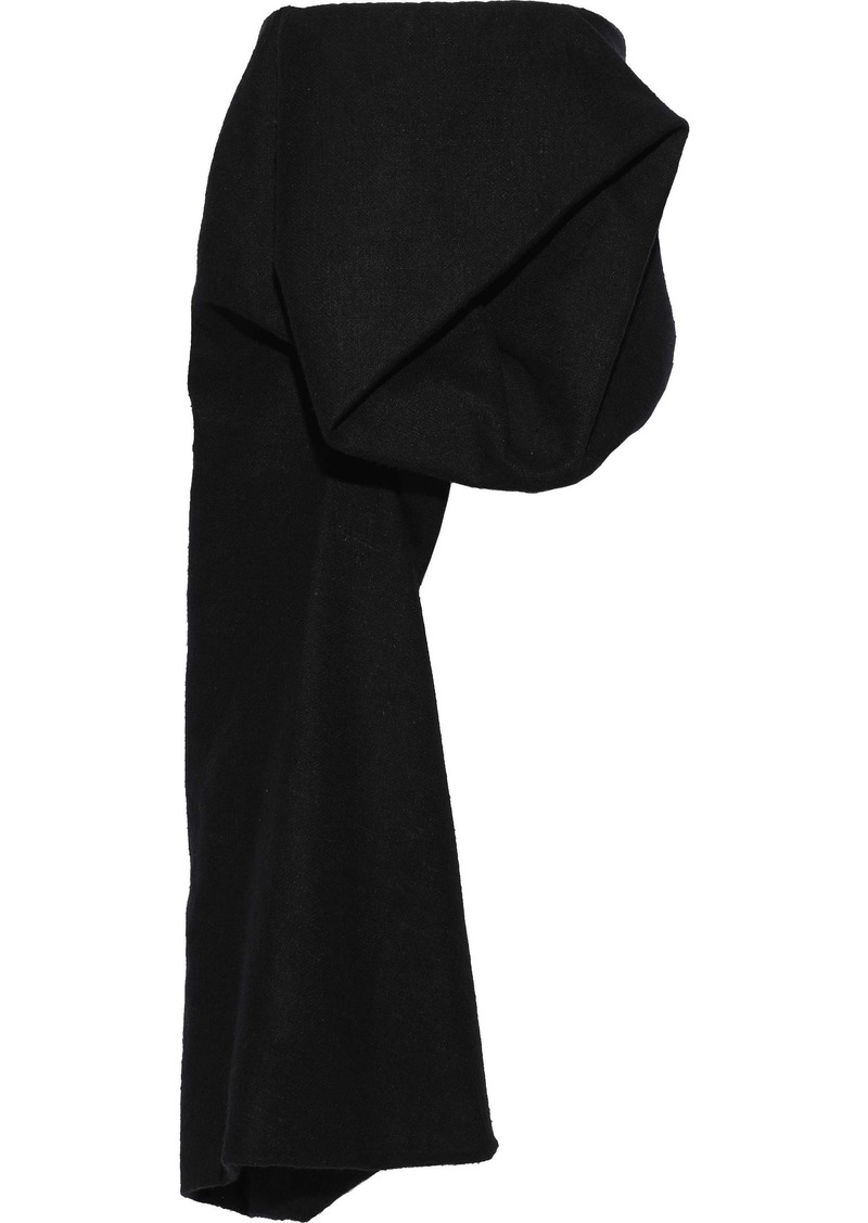 Rick Owens Woman Crumple Strapless Draped Camel And Linen-blend Felt Top Black